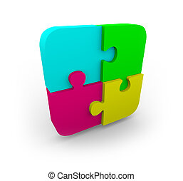 Four Puzzle Pieces Fit Together - Four different colored...