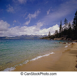Lake Tahoe shore in California