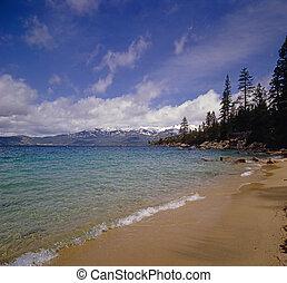 Lake Tahoe shore in California