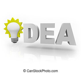 Idea Word with Light Bulb - The word Idea with an...