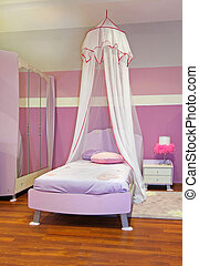 Pink girl bedroom - Modern girl bedroom interior with pink...