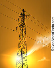 high voltage - vector high voltage tower in the sunset,...