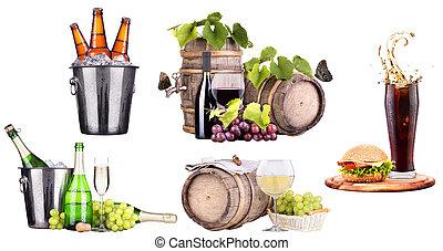 champanhe, vinho, Cerveja,  cola, alimento