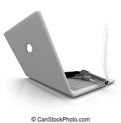 Smoking Gun and Laptop - A smoking handgun rests on a laptop...