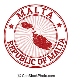 Malta stamp - Grunge rubber stamp with the name and map of...