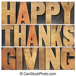 Happy Thanksgiving - isolated text in vintage letterpress...