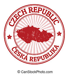 Czech Republic stamp - Grunge rubber stamp with the name and...