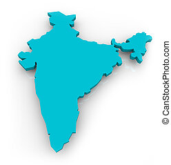 Map of India - Blue - A 3d map of India on a white...