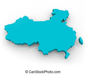 China Map - Blue - A 3d render of a map of China on a white...