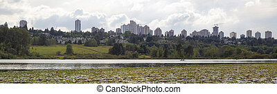 Burnaby BC City Skyline from Deer Lake - Burnaby BC Canada...