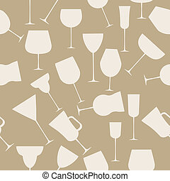 Seamless background pattern of alcoholic glass. Retro vintage style vector illustration
