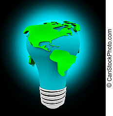 Earth Light Bulb - White Background