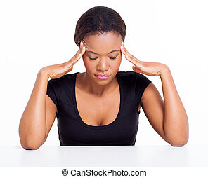 young black woman having headache isolated on white