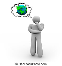 Person Thinking About the Earth - A figure of a person...
