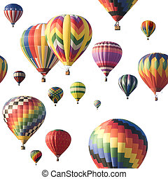 Colorful hot-air balloons floating against white - A group...