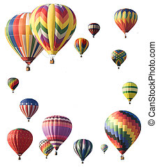 Hot-air balloons arranged around edge of frame allowing...