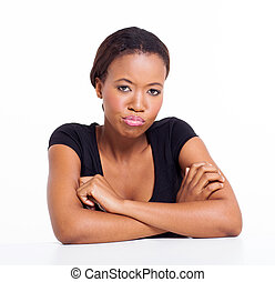unhappy african american girl