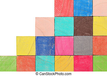 colorful wooden toy blocks - stack of colorful wooden toy...