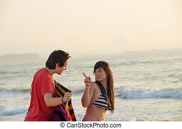 Scolding - Girl scolding a guy that is stalking her