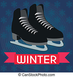ice skates - abstract Ice skates on special winter...