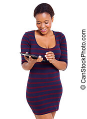 african american woman using tablet computer - happy african...