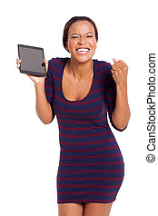 happy african woman with tablet computer isolated on white...
