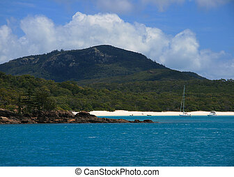 Whitehaven Beach Scene - A view of Whitehaven Beach in...