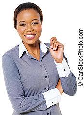 Geschäftsfrau, amerikanische, posierend, junger, afrikanisch