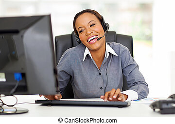 african call center operator - cheerful african call center...