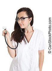 Sexy, Enfermera, estetoscopio, hembra, doctor, -, aislado,...