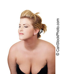 Young woman with low cut dress showing cleavage - Young...