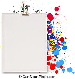 blank book and splash colors choice as concept