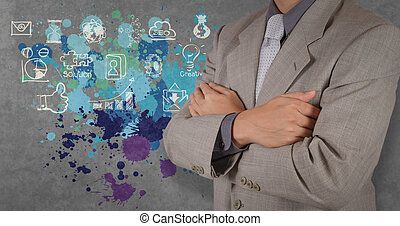 businessman hand working with the art of business strategy