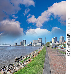 New Orleans. Sidewalk along Mississippi River.