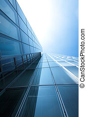 Abstract building blue glass wall of skyscraper - Abstract...