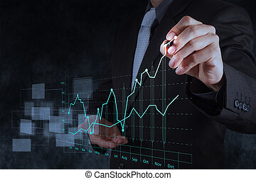 businessman hand drawing virtual chart business on texture...