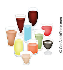 A Set of Refreshing Drink in Glass - An Illustration...