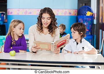 Teacher Reading Book While Children Listening To Her