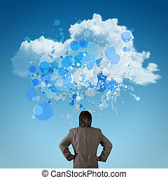 Businessman looking with Cloud Computing sign as splash colors art concept
