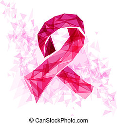 Breast cancer awareness ribbon with triangles EPS10 file. -...