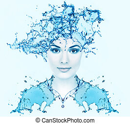 Beautiful woman face with water Purity concept background