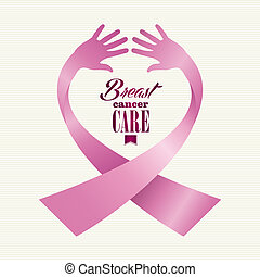 Breast cancer awareness ribbon element text made with human hands. EPS10 vector file organized in layers for easy editing.