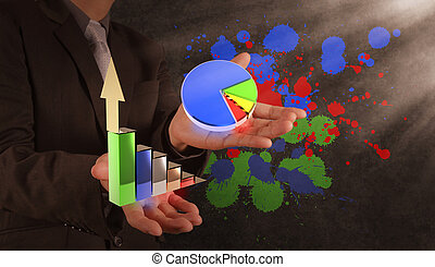 businessman hand with the art of business concept