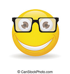 Happy face - abstract happy yellow face on white background