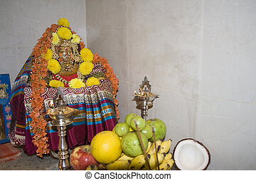 Mahalakshmi Puja - Performing puja of Mahalakshmi-goddess of...