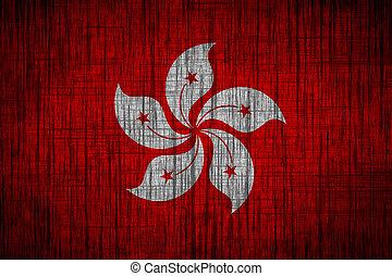 hong kong flag  wood texture