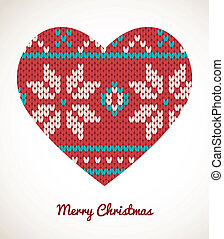 Xmas heart ornaments - seamless knitted background -...