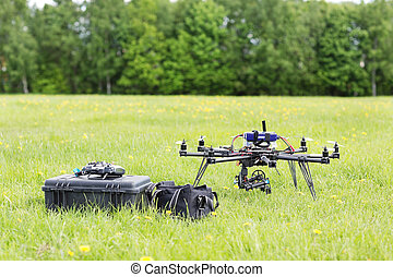 UAV Helicopter With Toolbox And Bag - UAV helicopter with...