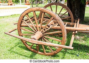 Wooden cart Thai Style in Thailand Garden