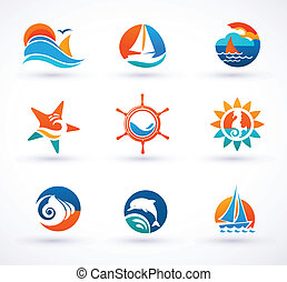 Set of nautical, sea icons and symbols - Set of sea and...